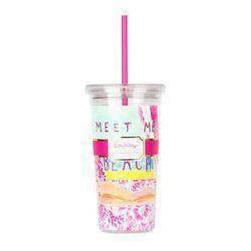 Tumbler with Straw in Meet Me At The Beach by Lilly Pulitzer