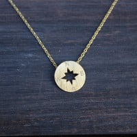 dainty compass necklace - gold