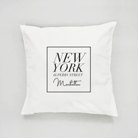 New York Pillow, Manchattan Pillow, Typography Pillow, Home Art, Cushion Cover,Throw Pillow,Bedroom Decor, Fashion Pillow, Decorative Pillow