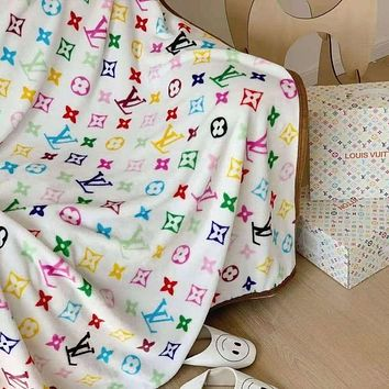 HERMES  MCM Fendi GUCCI DIOR  LV Louis Vuitton Hot Sale Full Printed Retro Blanket D Home Coral Fleece Thickening Blanket Adult Single Bed Blanket