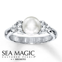 Cultured Pearl Ring Natural Sapphires Sterling Silver