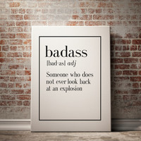 """PRINTABLE """"BADASS"""" Definition Print Funny Wall Art Home Decor Art Print Kitchen Wall Art Funny Wall Art Inspirational Quote Typography Print"""