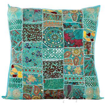 """24"""" Extra Large Blue Gypsy Throw Pillow for Couch, Decorative Accent Pillow, Patchwork Cushion Cover, Ethnic Indian Pillow Cottage, Pillow"""