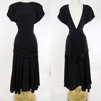 1980s 40s inspired dress, black rayon avant garde low V back short sleeve gown with ruched sash, Destinee, Medium