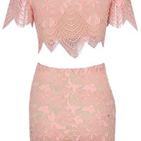 Delicate Diva Pink Scallop Lace Short Sleeve Scoop Neck Crop Bodycon Two Piece Mini Dress