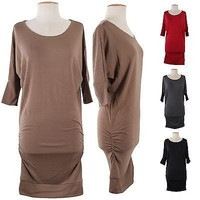 Sexy Wide Scoop Neck Dolman 3/4 Sleeve Hacci Tunic Knit Sweater Mini Dress