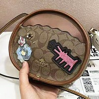 COACH  New fashion pattern leather shoulder bag women