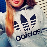 "Fashion ""Adidas"" Print Hooded Pullover Tops Sweater Sweatshirts Grey high quality"