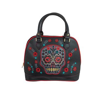 Flower Sugar Skull Bowling Shoulder Bag Black Faux Leather Tattoo Rockabilly