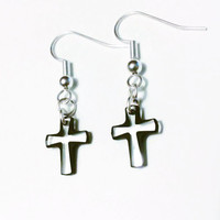 Black Cross Dangle Earrings - Swarovski Elements Crystal Cosmojet Crucifix - Womens Handmade Jewellery
