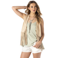 Miss Me Womens Fast Lane Swinging Fringe Vest
