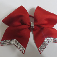 """red or black 3"""" hair bows with crystal rhinestone tails"""