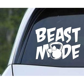 Beast Mode Kettlebell Girl Die Cut Vinyl Decal Sticker