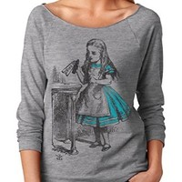 Womens Drink Me Vintage Alice in Wonderland French Terry 3/4 Sleeve T-Shirt