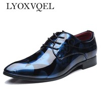 Men Dress Shoes Shadow Patent Leather Luxury Fashion Groom Wedding Shoes Men Oxford shoes 38-48 M394