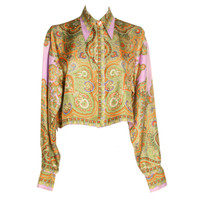 1990's Gianni Versace Paisley Cropped Blouse
