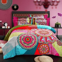 Bohemia Ethnic Style 100% Cotton Bedding Set Duvet Cover Reative Printing 4PC Queen King Size 5 styles Bed Sheet Sleeping Set