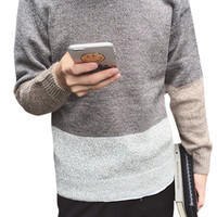 Color Block Knit Pullover Sweater For Men