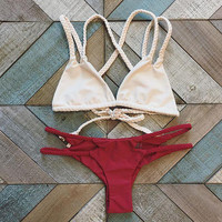 Giselle Braided Strappy Triangle Cheeky Brazilian Bikini Set