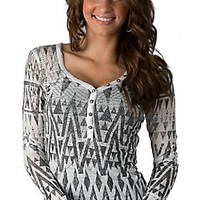 Rock & Roll Cowgirl Women's White & Grey Geometric Print Long Sleeve Burnout Shirt