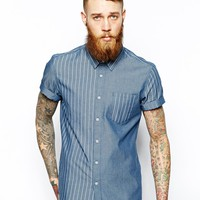 ASOS Shirt In Short Sleeve With Stripe Panels
