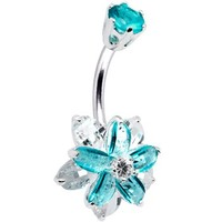 Sterling Silver 925 Aqua Cubic Zirconia Alluring Flower Belly Ring | Body Candy Body Jewelry