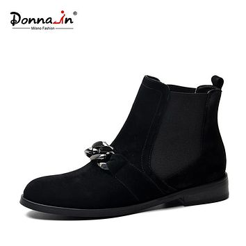 Donna-in natural kid suede ankle boots fashion metallic chains genuine leather women boots classic Chelsea boots low heel boots