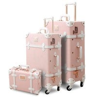 3PCS/SET Spinner Wheels Vintage Pink Pu Leather Embossed Suitcase Women Trunk Vintage Luggages Rolling Luggage for Girls