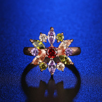 Shiny Gift Jewelry Stylish New Arrival Multi-color Crystal Ring [11597566287]