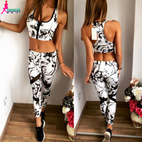 Gagaopt 2016 Sport Tracksuit For Women 2 Piece Set Women Print Bra cropped+Long Pants Set Tracksuit Gym Running