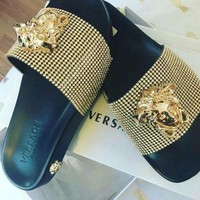 Versace slippers Golden