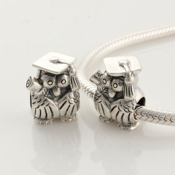 """925 Sterling Silver European Style Antique Silver """"Owl"""" Graduation Charms/beads for Pandora, Biagi, Chamilia, Troll and More Bracelets"""
