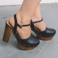 Memories In The Making Black Studded Clog Heels