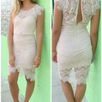 Downtown Doll Taupe Vintage Lace Uneven Hem Fitted Cocktail Dress