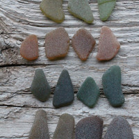 JQ Olive Green Brown Sea Glass  Jewelry Quality 15 pieces