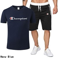 Champion Summer Popular Men Leisure Print Short Sleeve Top Shorts Sport Set Two Piece Navy Blue