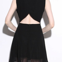 Black Cut-Out Back Sleeveless A-Line Dress