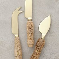 Carved Aurelian Cheese Knives by Anthropologie in Brass/mango Size: Set Of 3 Flatware