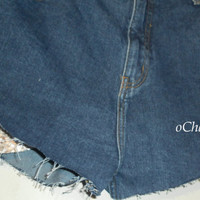 High Waisted Shorts Sequin Pockets Denim Custom All Sizes