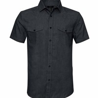 AVANZADA Men's Big & Tall Fort Short Sleeve Denim Shirt Lightweight Chambray Button