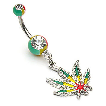 Rasta Weed Pot Leaf Belly Button Ring Dangle Navel Body Jewelry Piercing