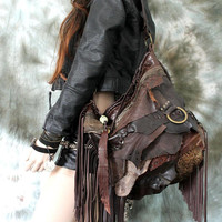 Mix of brown leather bag distressed hobo purse bohemian boho festival tribal african  purse sweet smoke free people Moroccan  moroccan