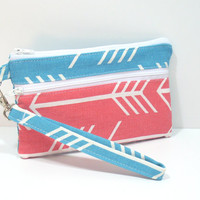 Turquoise and Coral Arrows Wristlet, Zipper Clutch Purse, Customize