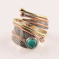 Turquoise Three Tone Sterling Silver Adjustable Wrap Ring