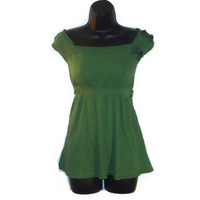 Green Short Sleeved Military Inspired Off Shoulder Summer Top Womens Clothing Medium