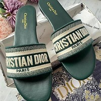 Dior CD Knitted Embroidery Shoes Ladies Flat Slippers Letter Print Block Heel Slippers Sandals