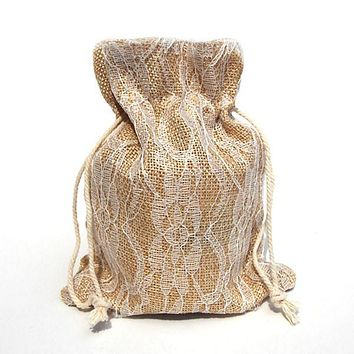 Faux Burlap Bags Lace Overlay, 5-Inch x 6-1/2-Inch, 6-Piece, Ivory