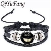 QiYuFang Alice in Wonderland hatter Leather Bracelet We're all Mad Here Jewelry Black Multilayers Charm Bracelets for Women Men