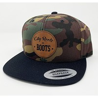 Camo/Black Bill City Roots in Boots Logo Hat