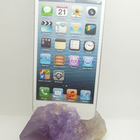 ETSY Black Friday/Cyber Monday Tech Lover Gift 1PC - Unique Natural Purple Amethyst Point Specimen iPhone, Samsung Tablet Phone Dock Station